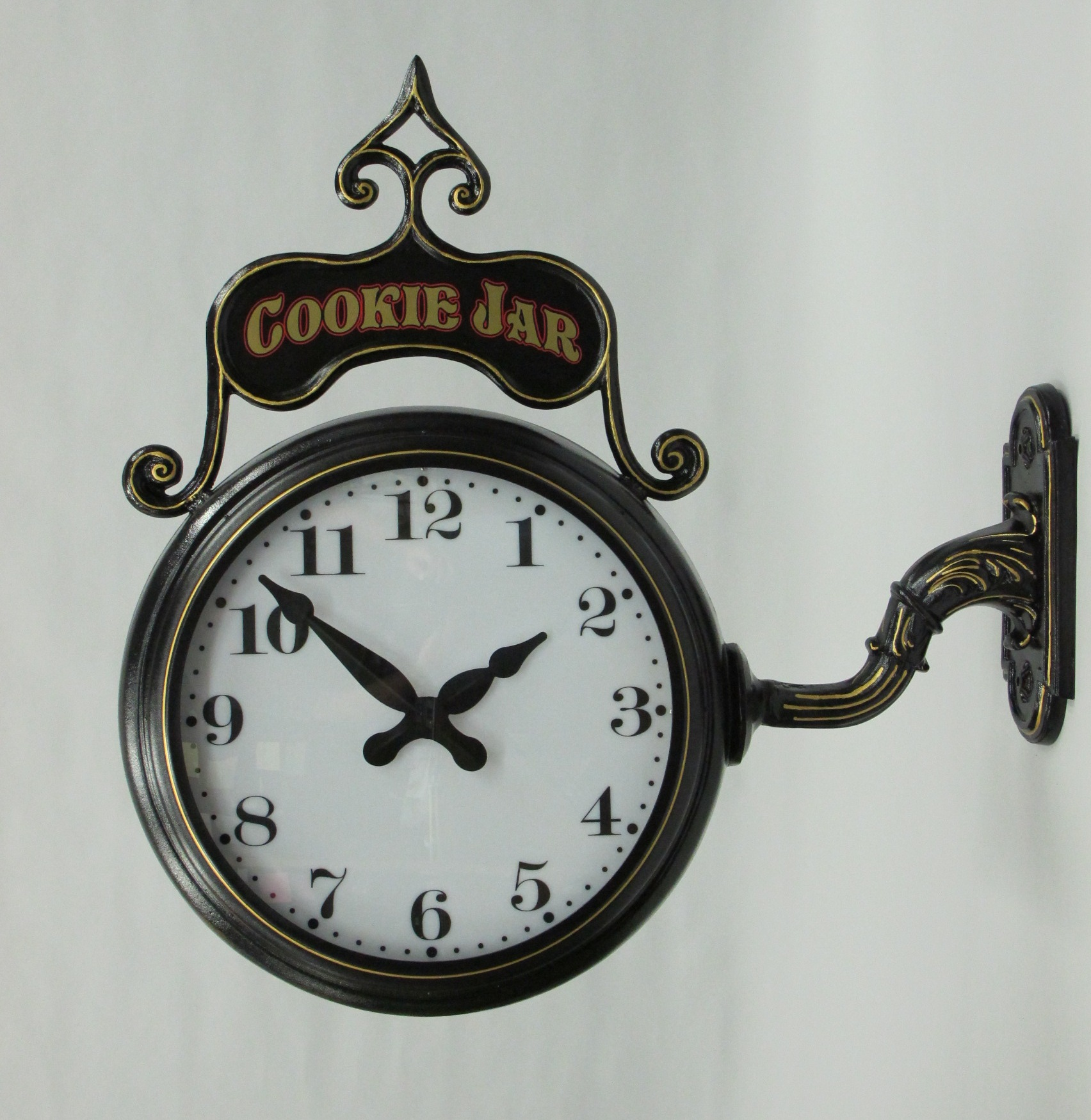 Double Faced Bracket Wall Clock Illuminated Automatic By