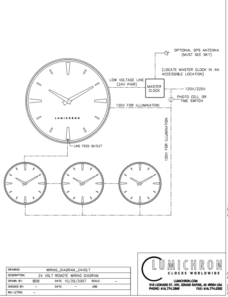 typical wiring diagram for fully automatic illuminated tower clocks by lumichron