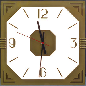 This is a 32-inch x 32-inch Custom-designed and custom-built square clock fabricated of laser-cut aluminum with architectural grade finish in Inca Gold, with an octagonal face or dial, with art deco style dial design made for Potter Stewart United States Courthouse in Cincinnati Ohio.