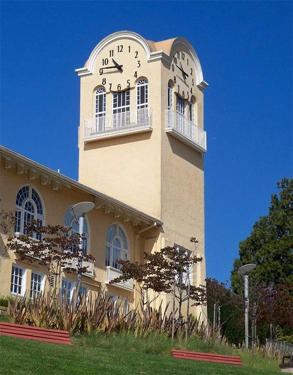 Skeletal marker silhouette Tower Clock Restoration Tamalpais High School by Lumichron